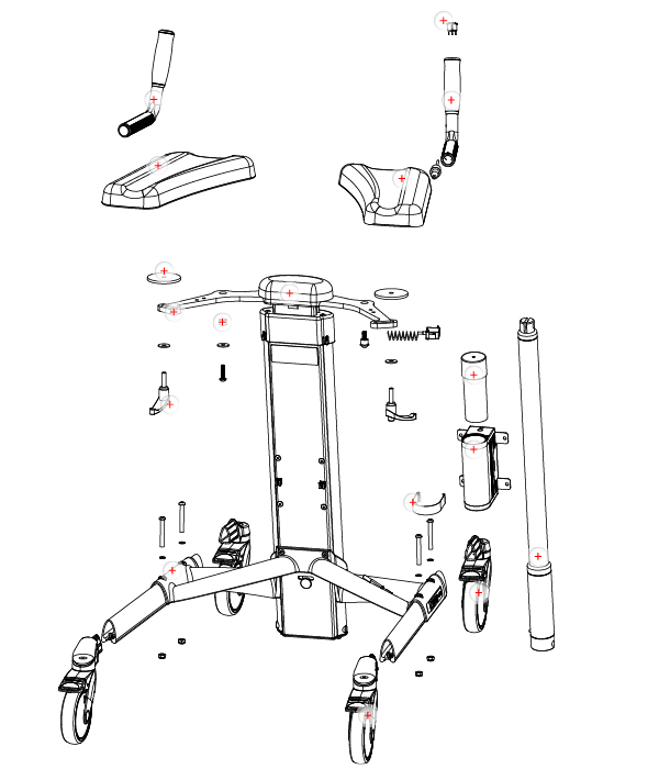 Exploded view with spare parts TOPRO Olympos